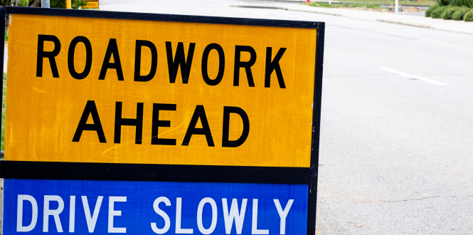 Roundabout roadworks